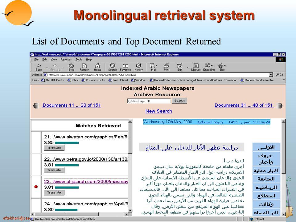 22.70eftekhari@cse.shirazu.ac.ir 70 List of Documents and Top Document Returned Monolingual retrieval system