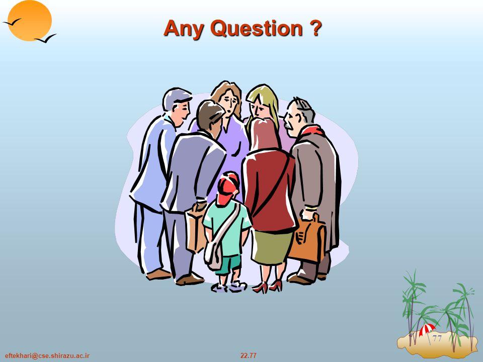 22.77eftekhari@cse.shirazu.ac.ir 77 Any Question