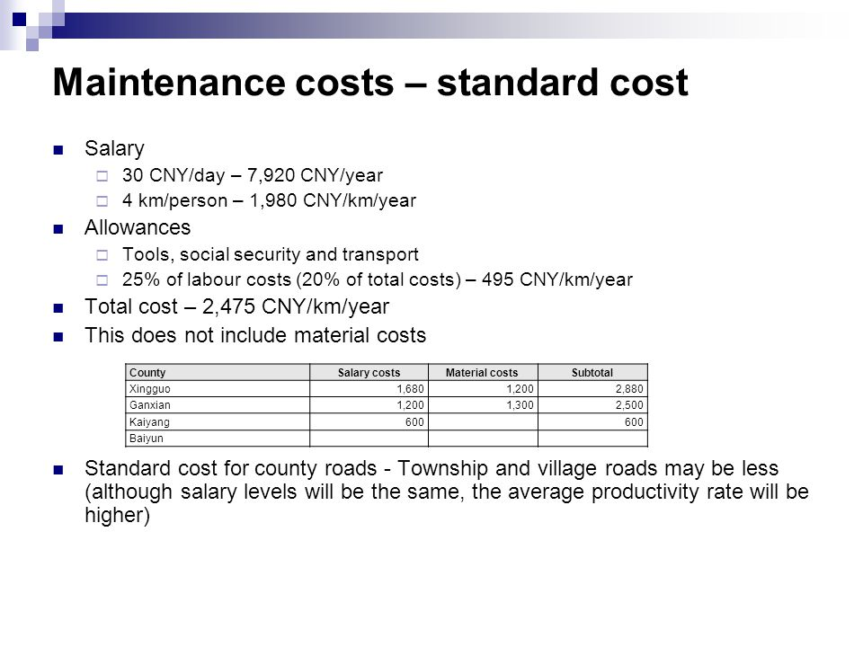 Maintenance costs – standard cost Salary  30 CNY/day – 7,920 CNY/year  4 km/person – 1,980 CNY/km/year Allowances  Tools, social security and transport  25% of labour costs (20% of total costs) – 495 CNY/km/year Total cost – 2,475 CNY/km/year This does not include material costs Standard cost for county roads - Township and village roads may be less (although salary levels will be the same, the average productivity rate will be higher) CountySalary costsMaterial costsSubtotal Xingguo1,6801,2002,880 Ganxian1,2001,3002,500 Kaiyang600 Baiyun