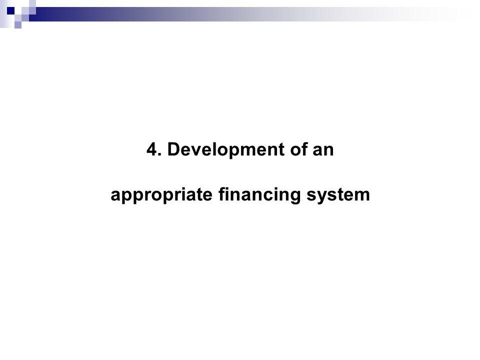 4. Development of an appropriate financing system