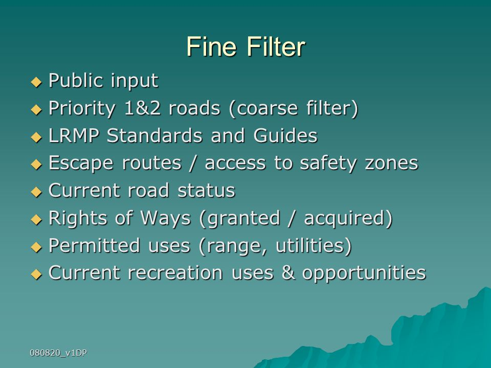 080820_v1DP Fine Filter  Public input  Priority 1&2 roads (coarse filter)  LRMP Standards and Guides  Escape routes / access to safety zones  Current road status  Rights of Ways (granted / acquired)  Permitted uses (range, utilities)  Current recreation uses & opportunities
