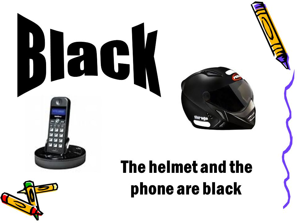 The helmet and the phone are black