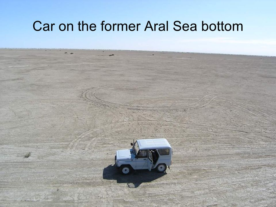 Car on the former Aral Sea bottom
