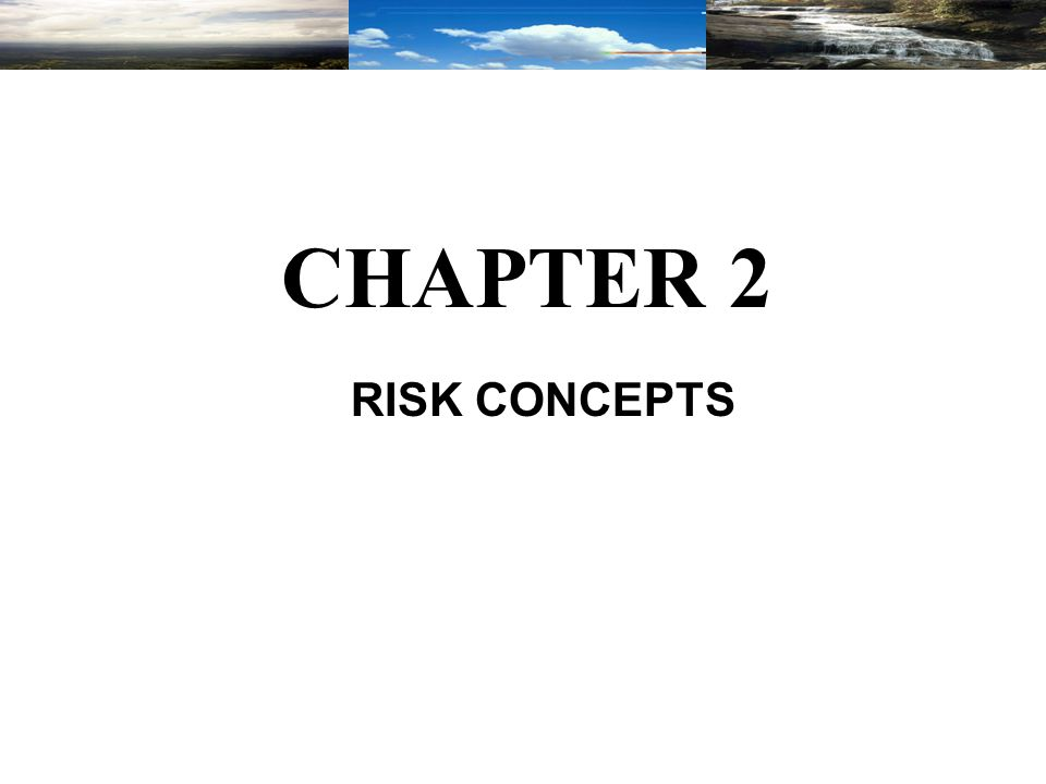 Chapter 2 This chapter will focus on the basic concept of environmental risk and risk assessment as applied to a chemical's manufacturing, processing, and the impact of exposure to these chemicals on human health or the environment.