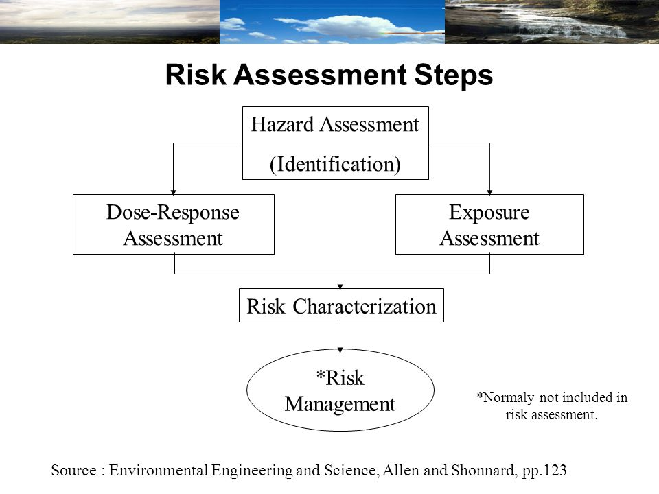 Risk Assessment Steps Source : Environmental Engineering and Science, Allen and Shonnard, pp.123 Hazard Assessment (Identification) Dose-Response Assessment Exposure Assessment Risk Characterization *Risk Management *Normaly not included in risk assessment.