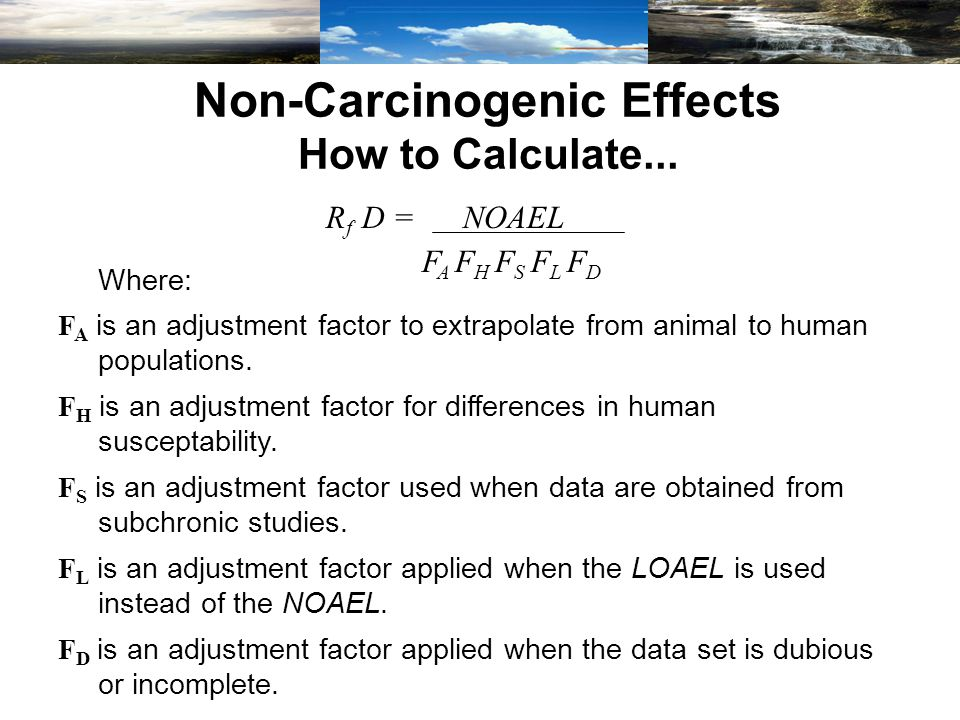 Non-Carcinogenic Effects How to Calculate...