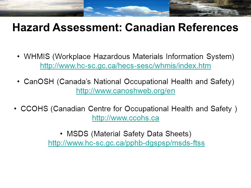 Hazard Assessment: Canadian References WHMIS (Workplace Hazardous Materials Information System) http://www.hc-sc.gc.ca/hecs-sesc/whmis/index.htm http://www.hc-sc.gc.ca/hecs-sesc/whmis/index.htm CanOSH (Canada's National Occupational Health and Safety) http://www.canoshweb.org/en http://www.canoshweb.org/en CCOHS (Canadian Centre for Occupational Health and Safety ) http://www.ccohs.ca http://www.ccohs.ca MSDS (Material Safety Data Sheets) http://www.hc-sc.gc.ca/pphb-dgspsp/msds-ftss