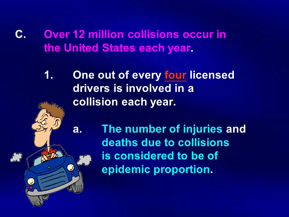 C.Over 12 million collisions occur in the United States each year.