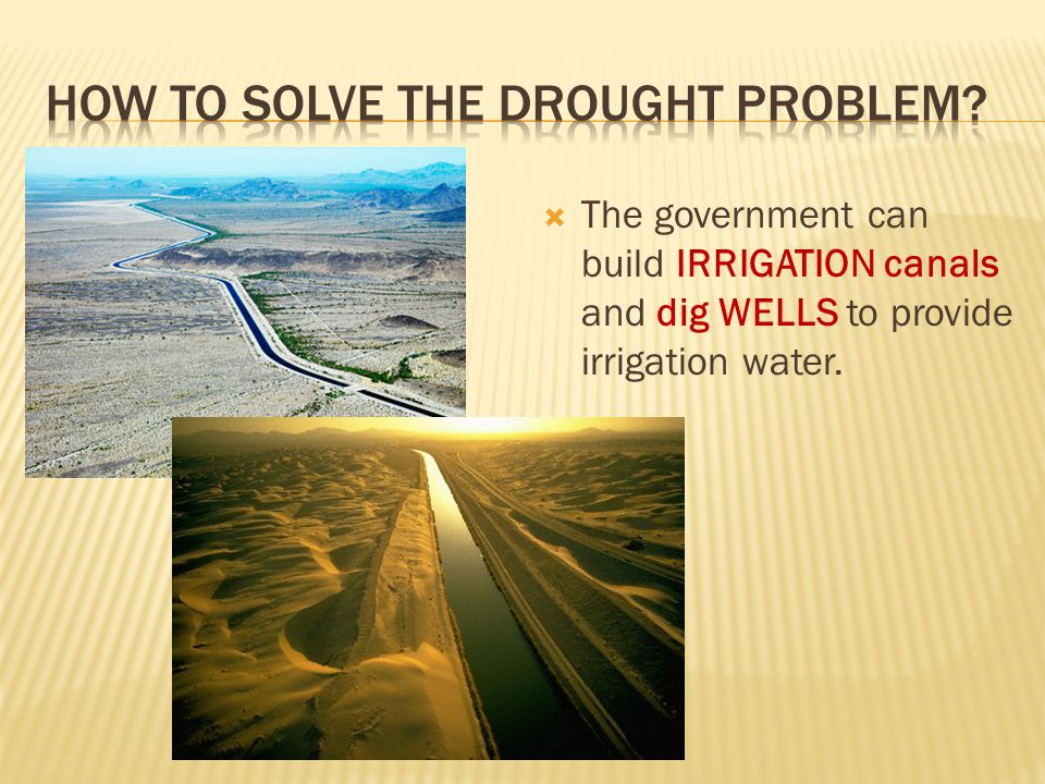  The government can build IRRIGATION canals and dig WELLS to provide irrigation water.