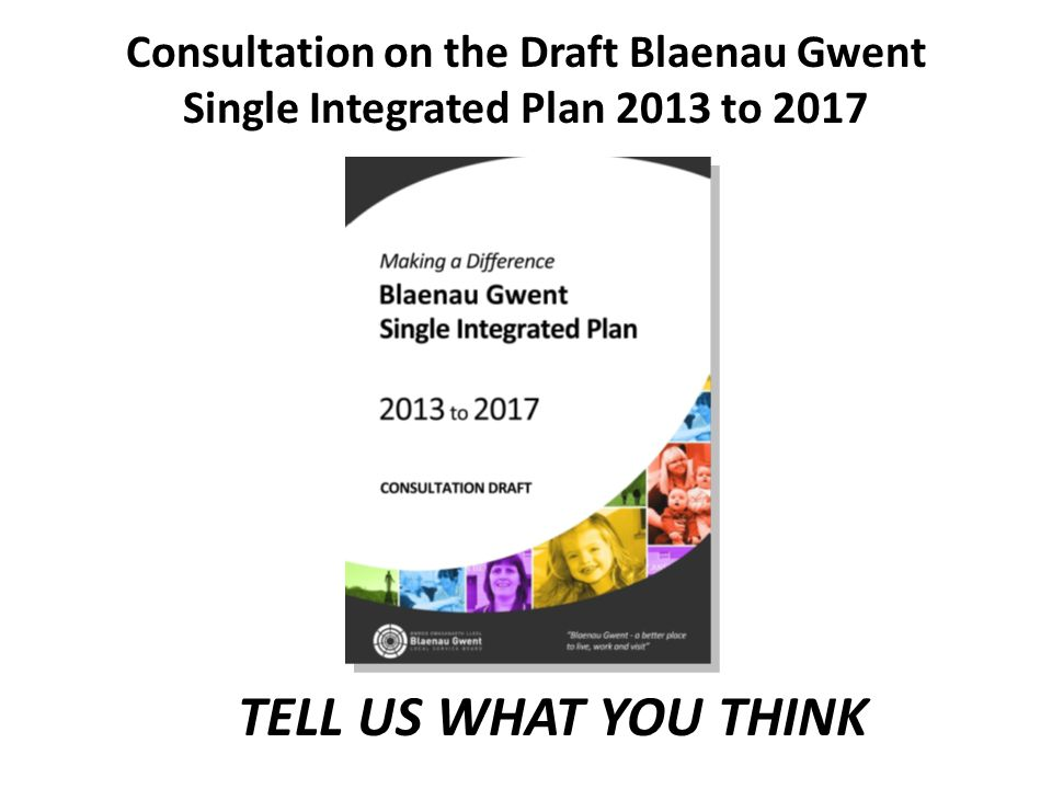 TELL US WHAT YOU THINK Consultation on the Draft Blaenau Gwent Single Integrated Plan 2013 to 2017