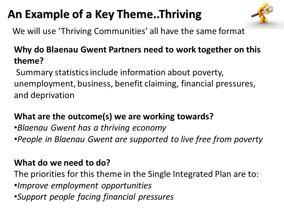 We will use 'Thriving Communities' all have the same format Why do Blaenau Gwent Partners need to work together on this theme.