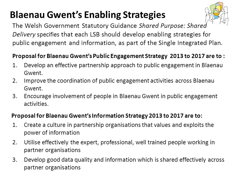 Blaenau Gwent's Enabling Strategies Proposal for Blaenau Gwent's Information Strategy 2013 to 2017 are to: Proposal for Blaenau Gwent's Public Engagement Strategy 2013 to 2017 are to : The Welsh Government Statutory Guidance Shared Purpose: Shared Delivery specifies that each LSB should develop enabling strategies for public engagement and information, as part of the Single Integrated Plan.