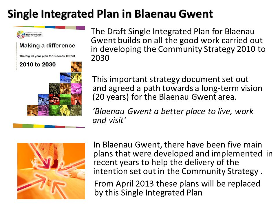 Single Integrated Plan in Blaenau Gwent The Draft Single Integrated Plan for Blaenau Gwent builds on all the good work carried out in developing the Community Strategy 2010 to 2030 This important strategy document set out and agreed a path towards a long-term vision (20 years) for the Blaenau Gwent area.