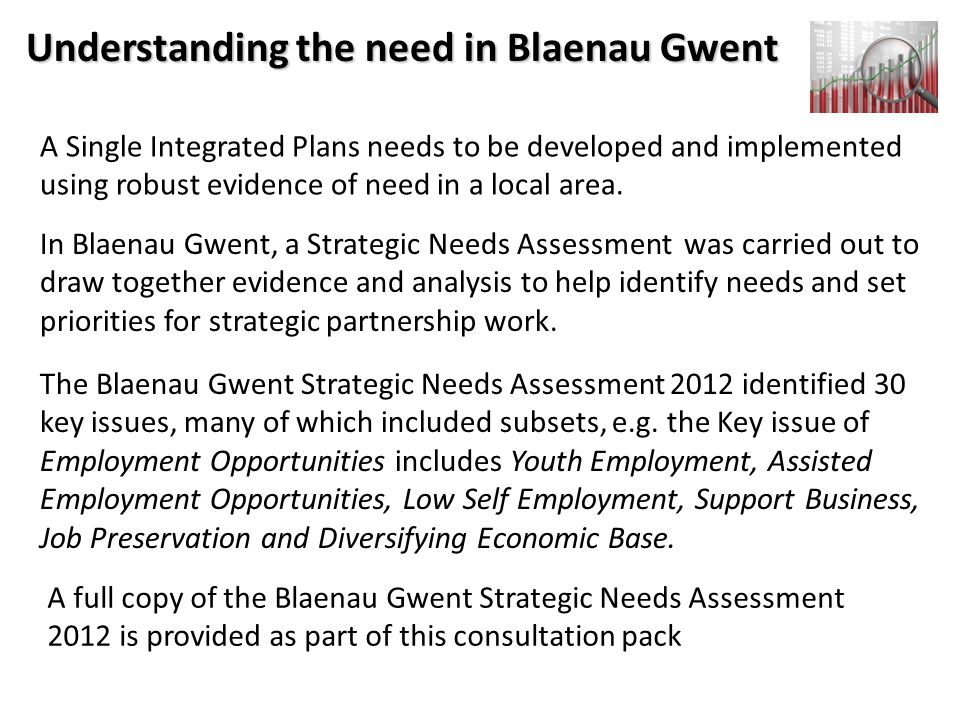 Understanding the need in Blaenau Gwent A Single Integrated Plans needs to be developed and implemented using robust evidence of need in a local area.