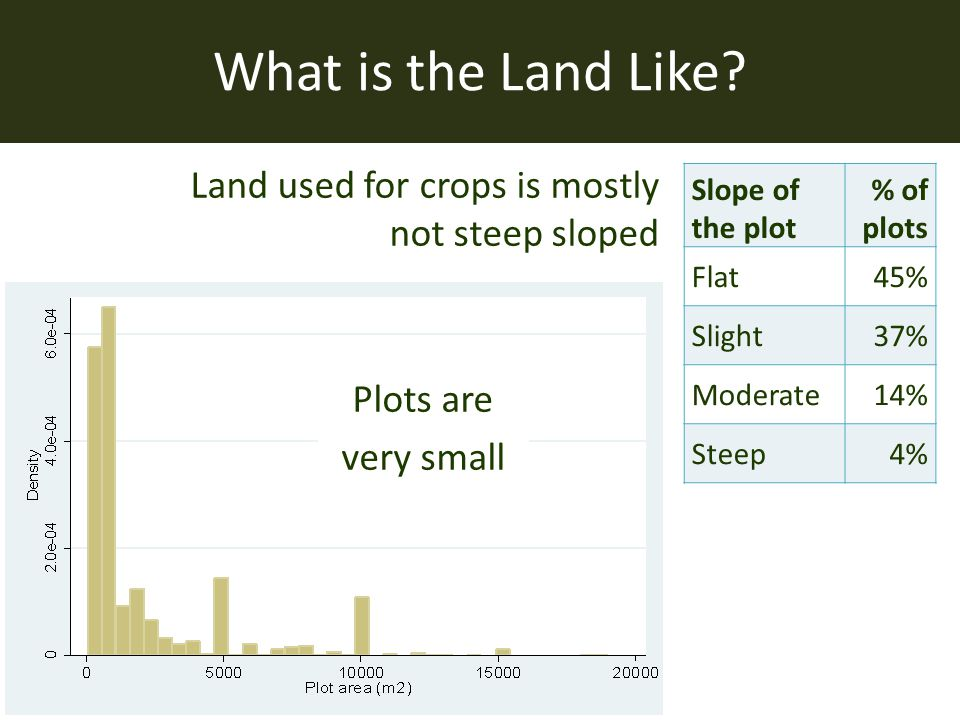 Slope of the plot % of plots Flat45% Slight37% Moderate14% Steep4% Land used for crops is mostly not steep sloped What is the Land Like? Plots are ver
