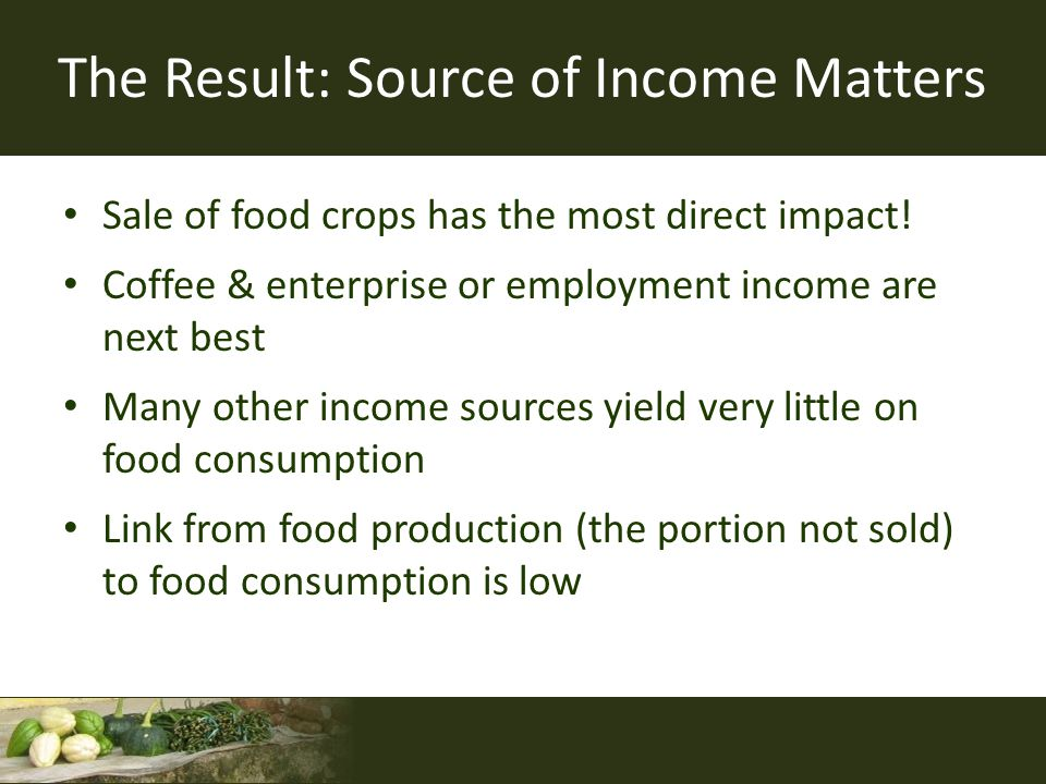 The Result: Source of Income Matters Sale of food crops has the most direct impact! Coffee & enterprise or employment income are next best Many other