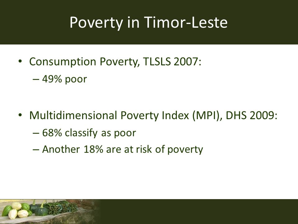Multidimensional Poverty Index Household IndicatorPoints At least one person has completed five years of schooling3 All school-age children enrolled in school3 No person is malnourished3 No children have died3 Has electricity1 Has access to clean drinking water1 Has access to adequate sanitation1 Has a floor material superior to dirt floor1 Does not use dirty cooking fuel (dung, firewood, charcoal)1 Has two of these assets: bicycle, motorcycle, radio, refrigerator, phone, television 1 Poor: 12 points or lessAt Risk: 14 points or less