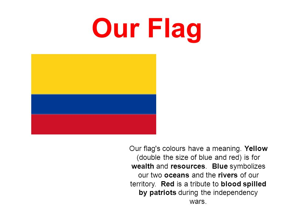 Our Flag Our flag's colours have a meaning. Yellow (double the size of blue and red) is for wealth and resources. Blue symbolizes our two oceans and t