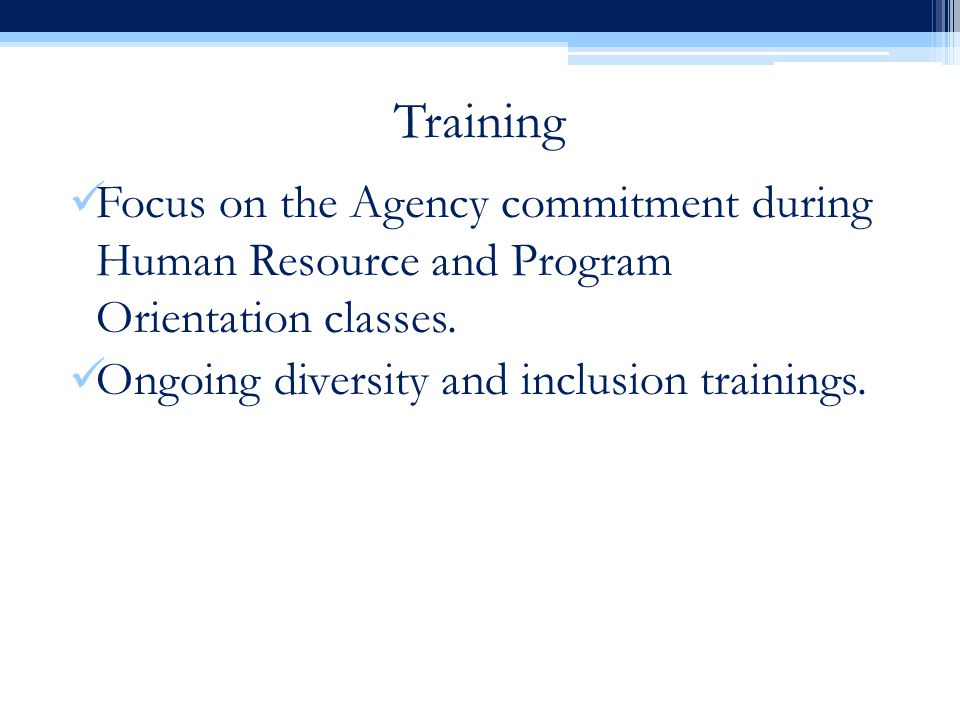 Training Focus on the Agency commitment during Human Resource and Program Orientation classes.