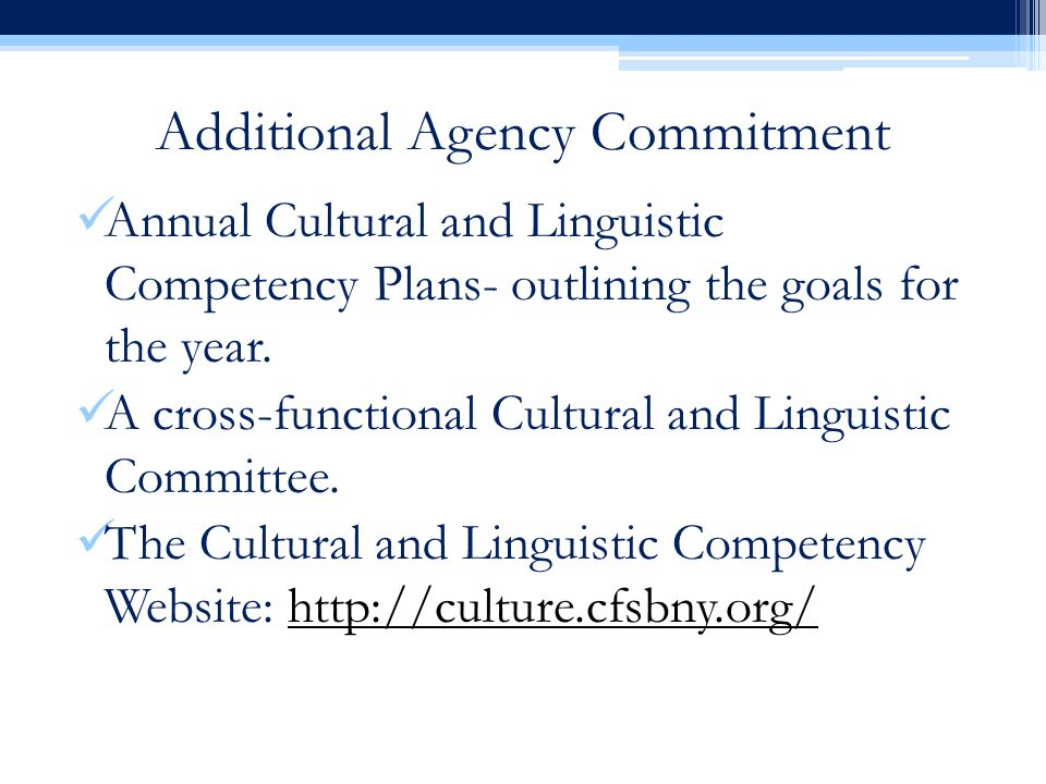 Additional Agency Commitment Annual Cultural and Linguistic Competency Plans- outlining the goals for the year.
