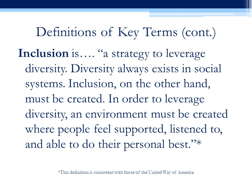 *This definition is consistent with those of the United Way of America Definitions of Key Terms (cont.) Inclusion is….