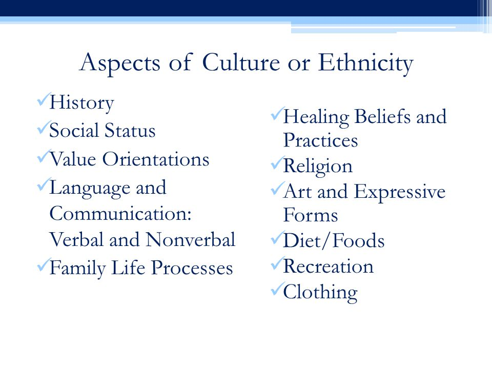 Aspects of Culture or Ethnicity History Social Status Value Orientations Language and Communication: Verbal and Nonverbal Family Life Processes Healing Beliefs and Practices Religion Art and Expressive Forms Diet/Foods Recreation Clothing