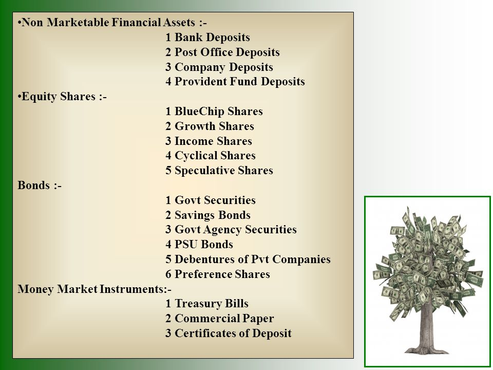 Non Marketable Financial Assets :- 1 Bank Deposits 2 Post Office Deposits 3 Company Deposits 4 Provident Fund Deposits Equity Shares :- 1 BlueChip Sha