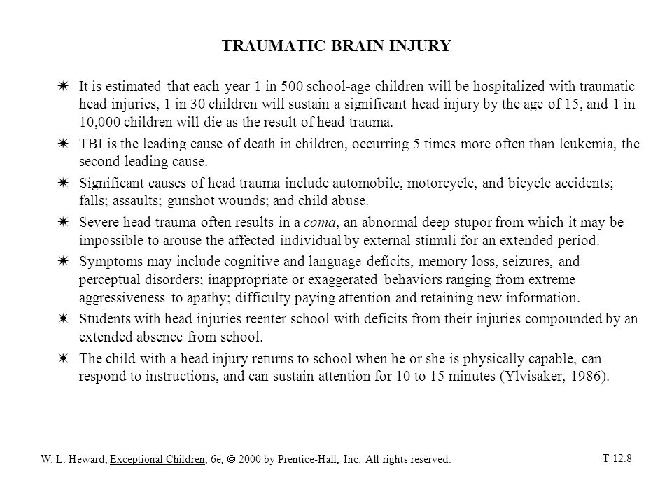 TRAUMATIC BRAIN INJURY WIt is estimated that each year 1 in 500 school-age children will be hospitalized with traumatic head injuries, 1 in 30 childre