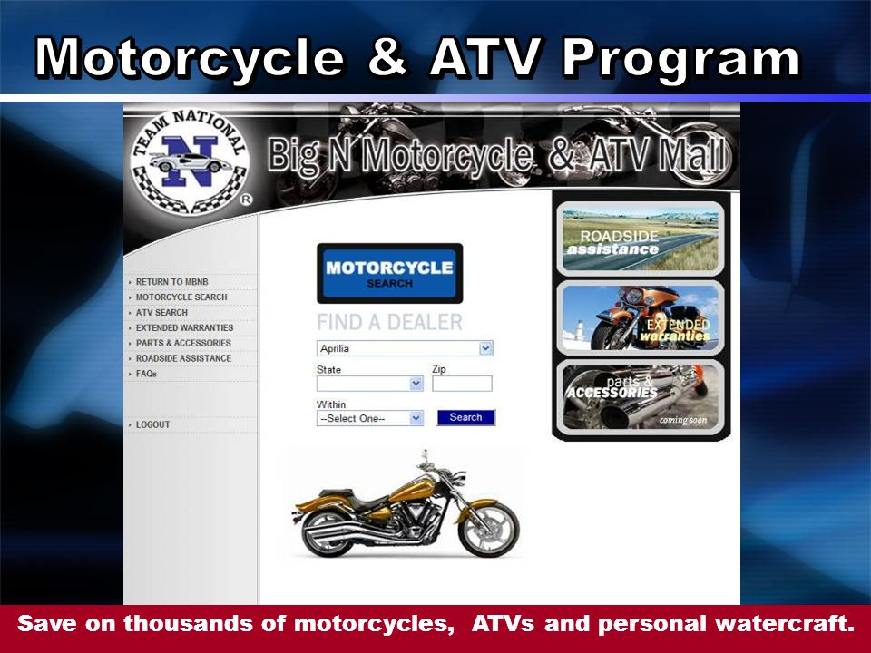 Save on thousands of motorcycles, ATVs and personal watercraft.