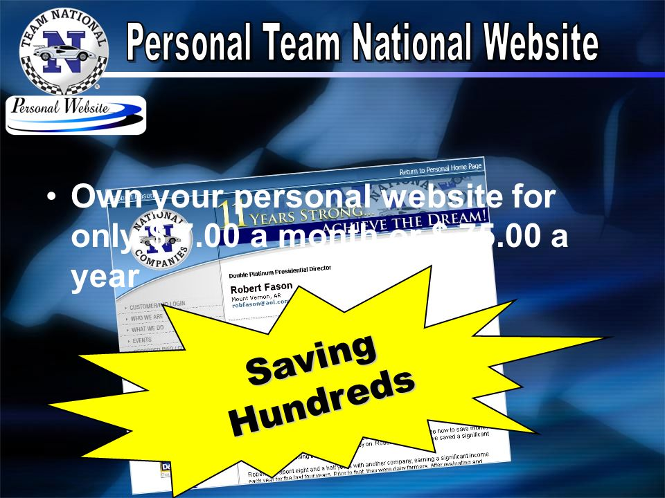 Own your personal website for only $ 7.00 a month or $ 75.00 a year Saving Hundreds