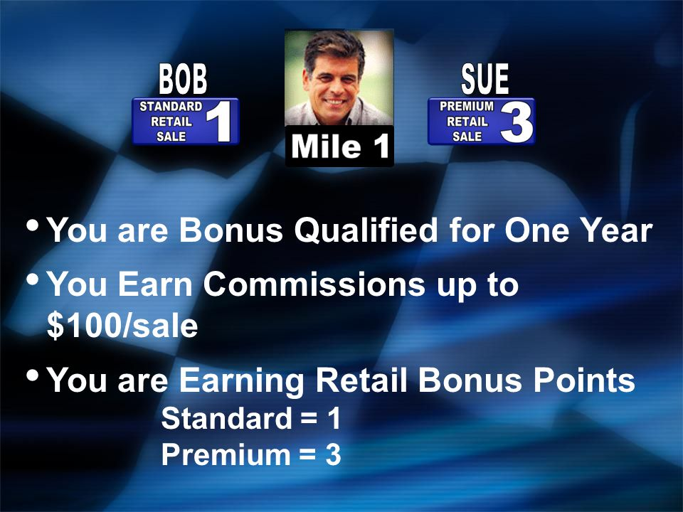 You are Bonus Qualified for One Year You Earn Commissions up to $100/sale You are Earning Retail Bonus Points Standard = 1 Premium = 3