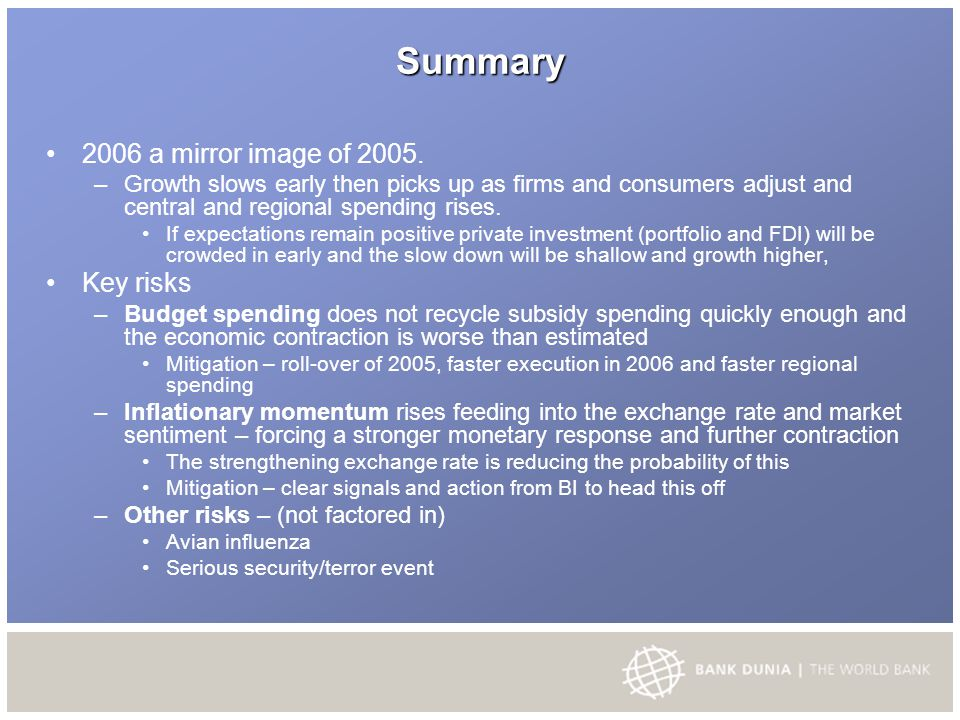Summary 2006 a mirror image of 2005.