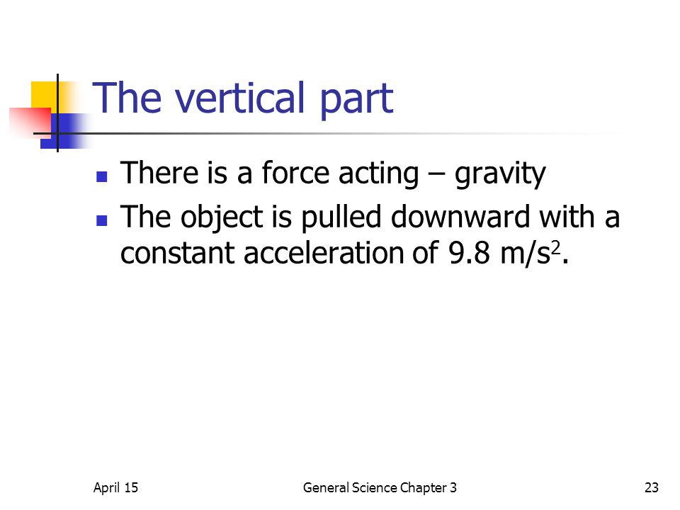 April 15General Science Chapter 323 The vertical part There is a force acting – gravity The object is pulled downward with a constant acceleration of