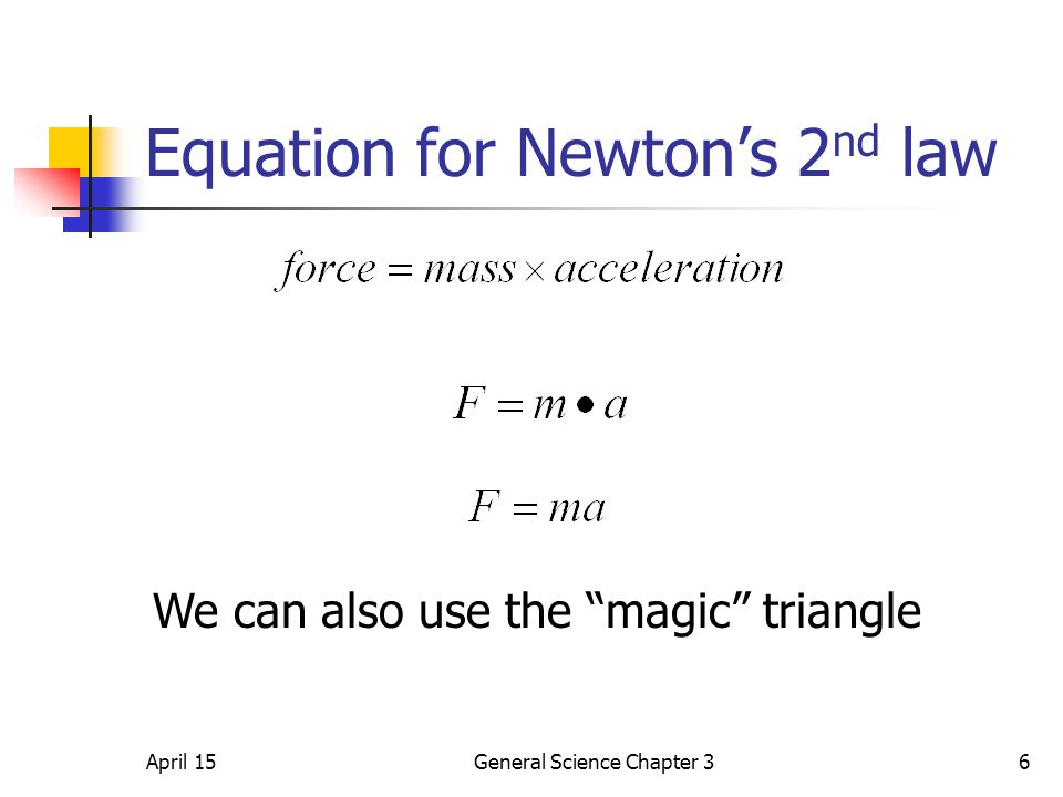 """April 15General Science Chapter 36 Equation for Newton's 2 nd law We can also use the """"magic"""" triangle"""