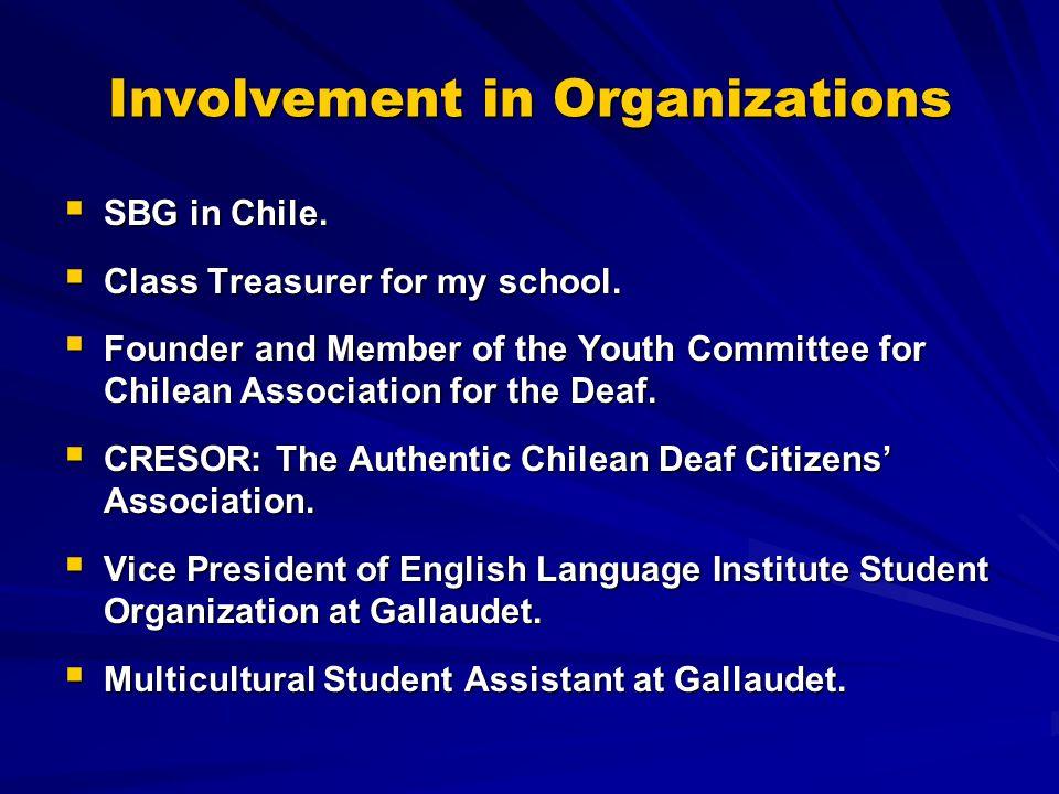 Involvement in Organizations  SBG in Chile.  Class Treasurer for my school.