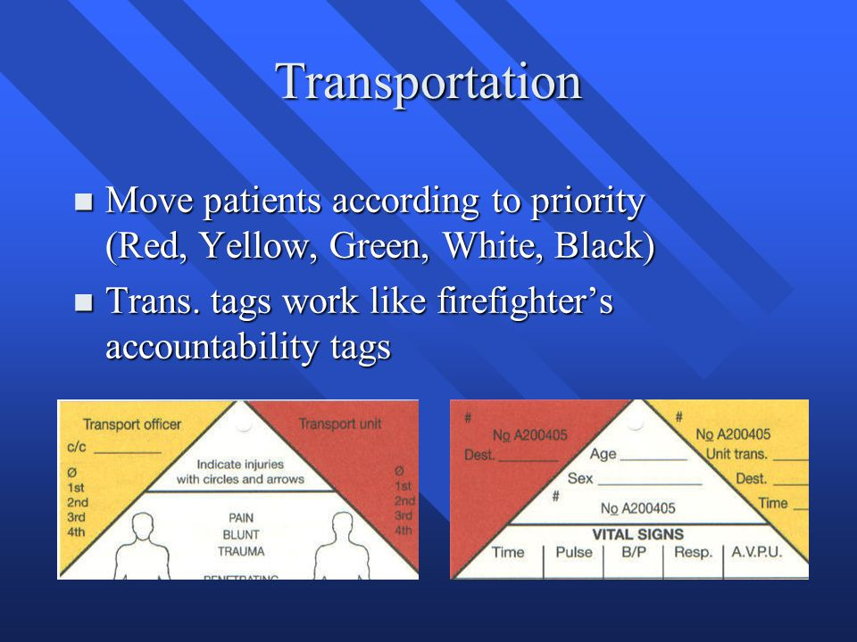 Transportation n Move patients according to priority (Red, Yellow, Green, White, Black) n Trans. tags work like firefighter's accountability tags