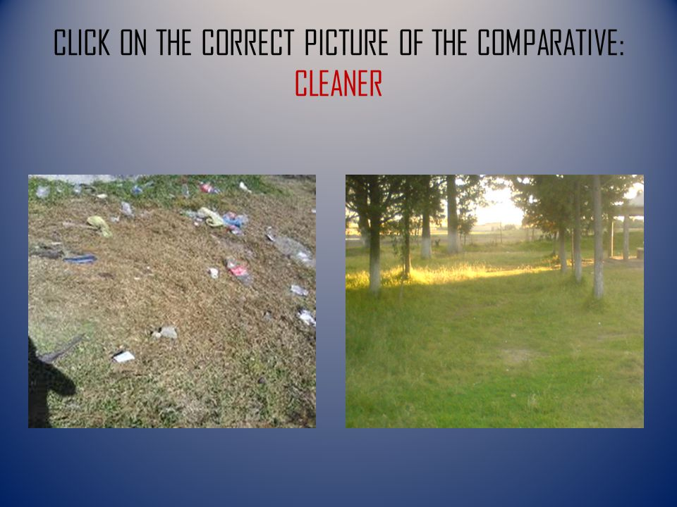 CLICK ON THE CORRECT PICTURE OF THE COMPARATIVE: CLEANER