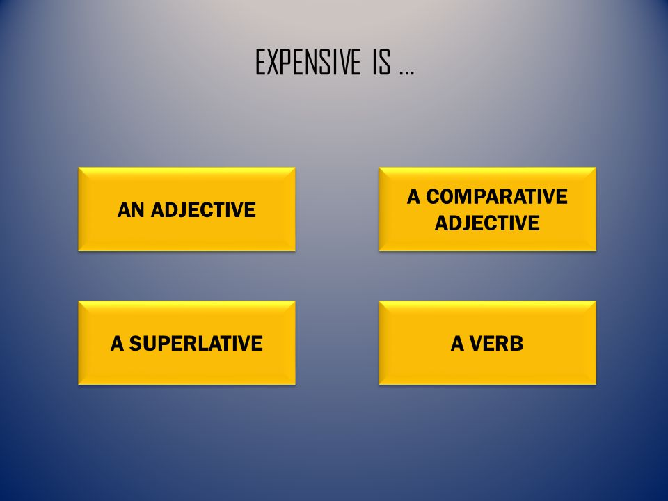 EXPENSIVE IS … AN ADJECTIVE A COMPARATIVE ADJECTIVE A COMPARATIVE ADJECTIVE A SUPERLATIVE A VERB