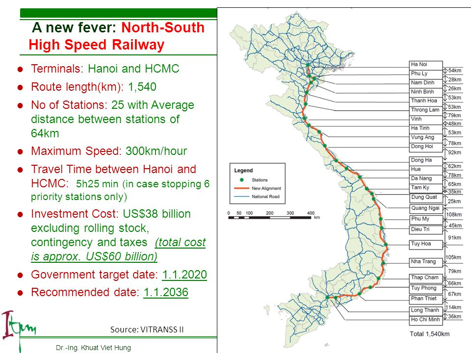 A new fever: North-South High Speed Railway 10 Terminals: Hanoi and HCMC Route length(km): 1,540 No of Stations: 25 with Average distance between stat
