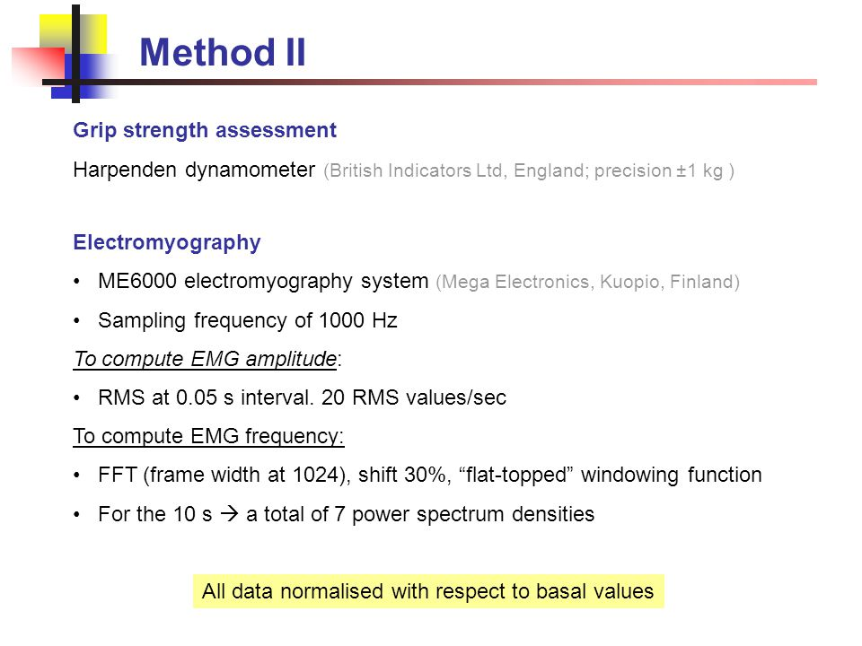 Method III: Statistics To study changes in the EMG and the force parameters throughout the 24-h race: Repeated measures ANOVAs with relay sequence (1  6) as the factor If the sphericity test to study matrix proportionality of the dependent variable was significant (p<0.001), we used the Greenhouse-Geisser's correction If a significant effect was found, planned comparisons were conducted between relays 1-2 and 5-6 (Sidak adjustment for multiple comparisons) Eta squared (η 2 ) for effect sizes Overall paired T-Test was used to compare the differences between the normalized MF (NMF) and normalized MPF (NMPF).