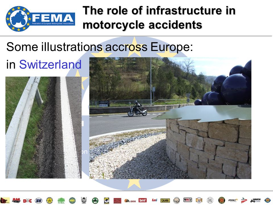 10/47 Some illustrations accross Europe: in Switzerland The role of infrastructure in motorcycle accidents