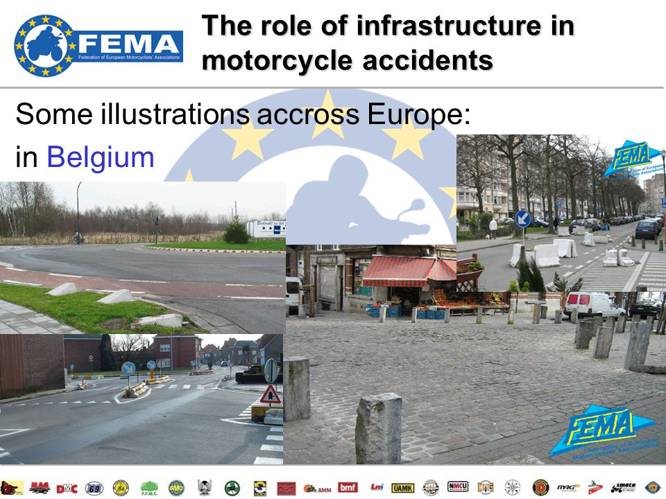 12/47 Some illustrations accross Europe: in Belgium The role of infrastructure in motorcycle accidents