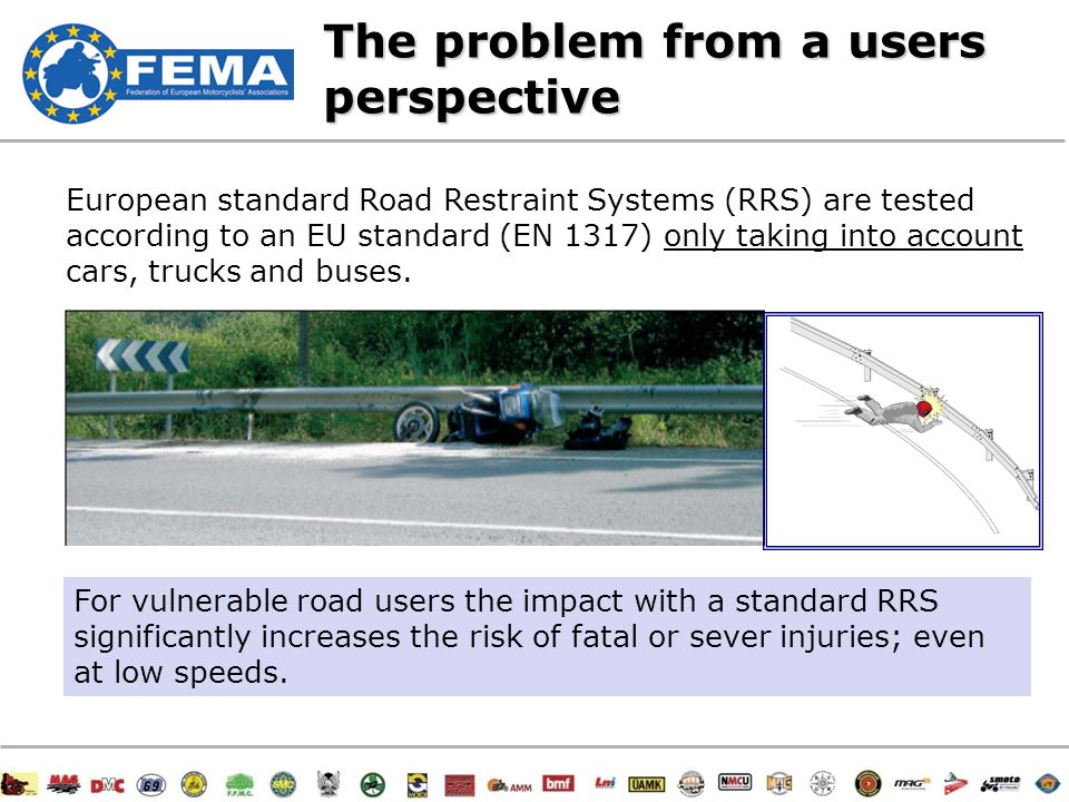 16/47 The problem from a users perspective European standard Road Restraint Systems (RRS) are tested according to an EU standard (EN 1317) only taking into account cars, trucks and buses.