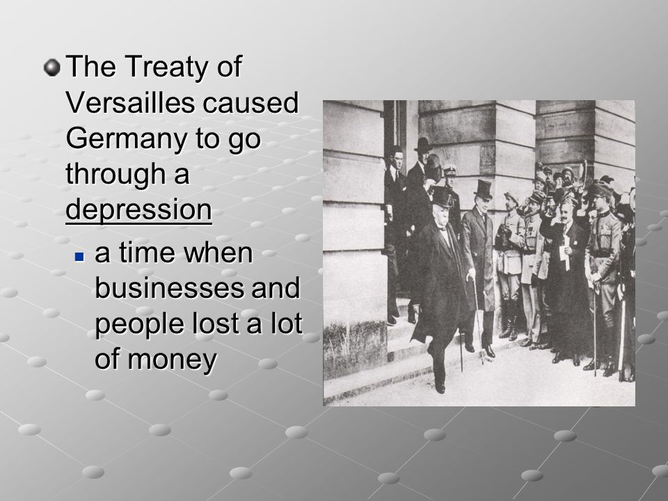 The Treaty of Versailles The 1919 Versailles Treaty, which Germany was kept under blockade until she signed, ended the war. The treaty said: the war w
