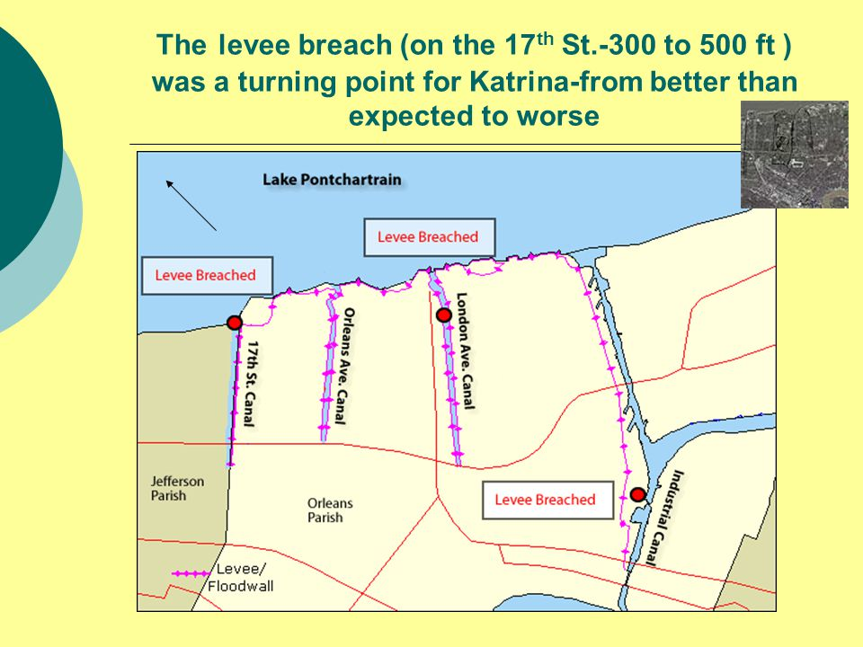 The levee breach (on the 17 th St.-300 to 500 ft ) was a turning point for Katrina-from better than expected to worse