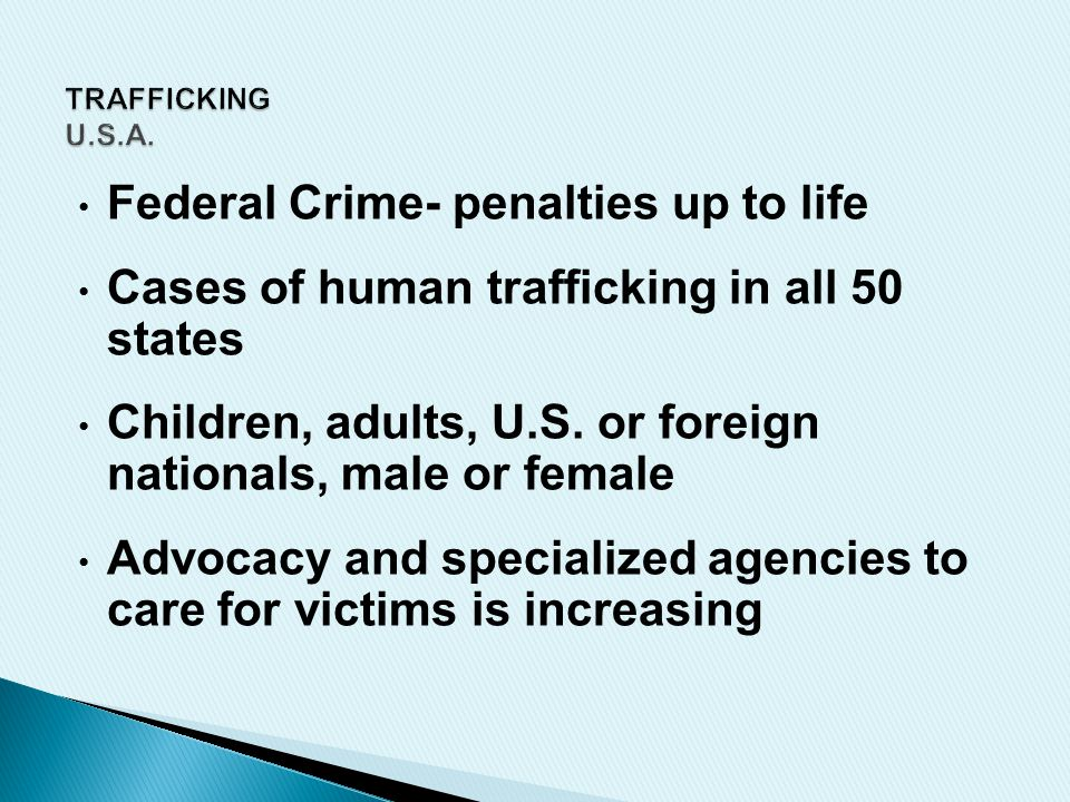 Federal Crime- penalties up to life Cases of human trafficking in all 50 states Children, adults, U.S.