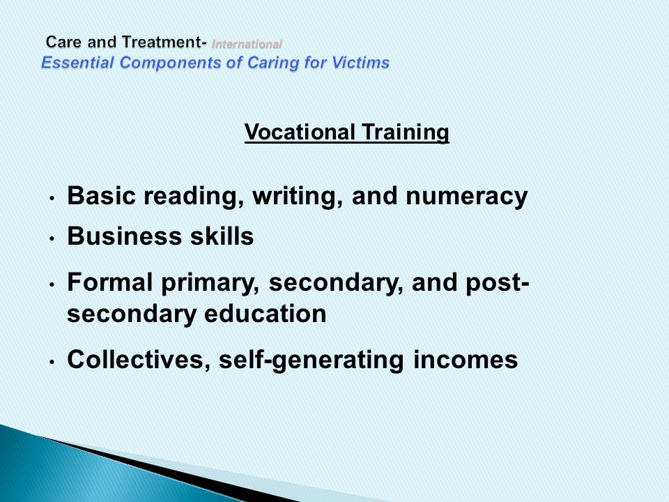 Vocational Training Basic reading, writing, and numeracy Business skills Formal primary, secondary, and post- secondary education Collectives, self-generating incomes