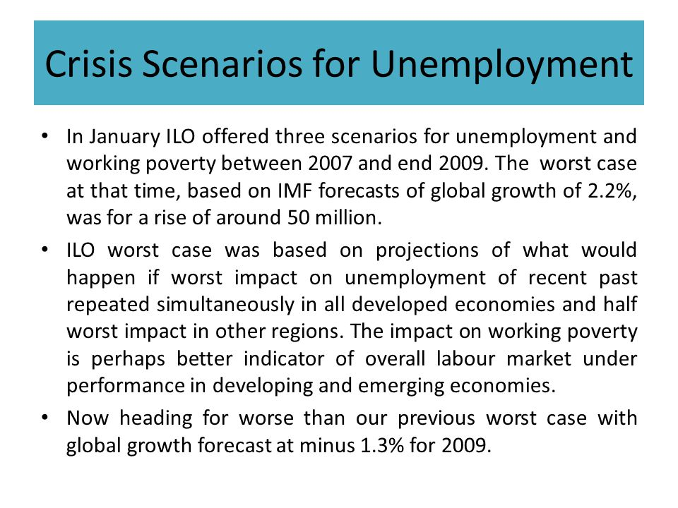Crisis Scenarios for Unemployment In January ILO offered three scenarios for unemployment and working poverty between 2007 and end 2009. The worst cas