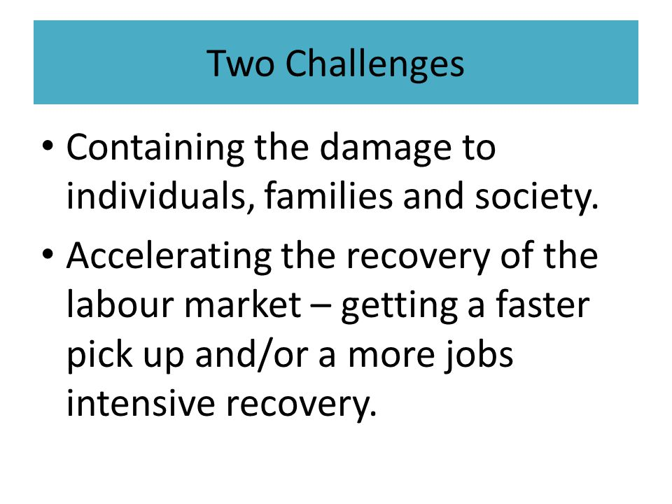 Two Challenges Containing the damage to individuals, families and society.
