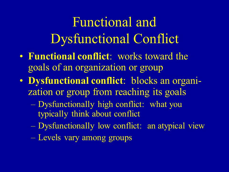 Functional and Dysfunctional Conflict Functional conflict: works toward the goals of an organization or group Dysfunctional conflict: blocks an organi- zation or group from reaching its goals –Dysfunctionally high conflict: what you typically think about conflict –Dysfunctionally low conflict: an atypical view –Levels vary among groups
